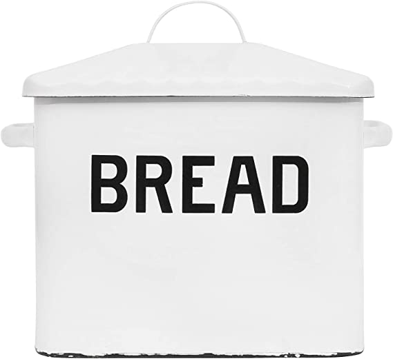 Creative Co Op Enameled Metal Distressed Bread Box With Lid White Kitchen Dining