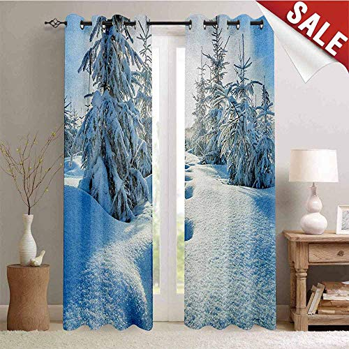 Hengshu Winter Thermal Insulating Blackout Curtain Winter Landscape with Forest and Blue Sky Frosted Trees Footprints Seasonal Nature Blackout Draperies for Bedroom W72 x L84 Inch Blue White