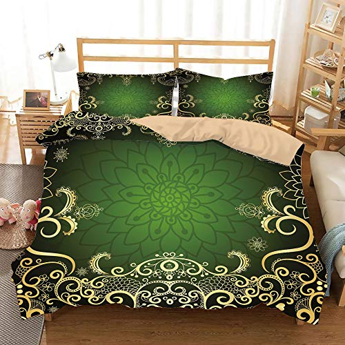 - Gold Khaki Duvet Cover Set King Size,Arabesque Frame with Lotus Shade Floral Swirls Little Hearts and Dots Decorative,Decorative 3 Piece Bedding Set with 2 Pillow Shams,Green Gold Black