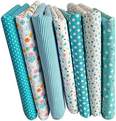 TOOGOO 7 piezas de 50cm * 50cm Tela de algodon impresa llana de floral pequena Tela del algodon para telas de coser Almazuela acolchado hechos a mano Diy Textiles (Azul claro): Amazon.es: