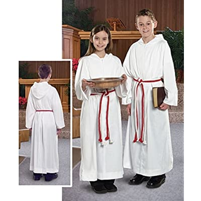 Liturgical Church Garment White Polyester Monastic Alb with Hood - Size 10