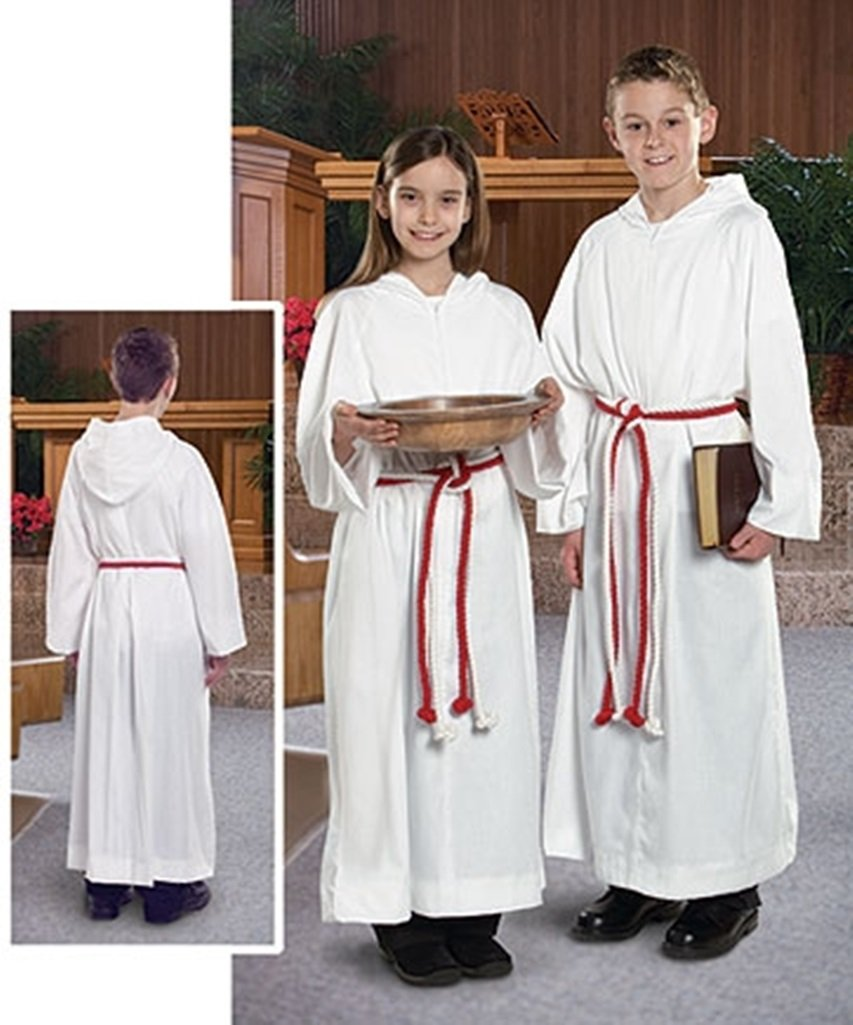 Liturgical Church Garment White Polyester Monastic Alb with Hood - Size 12