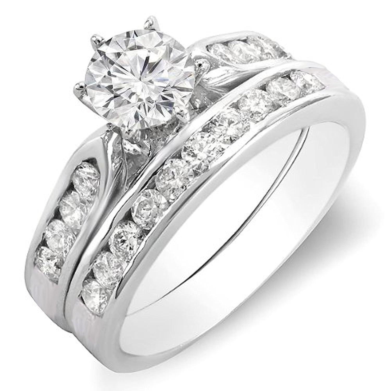 1.00 Carat (ctw) 18k Gold Round Diamond Ladies Bridal Engagement Ring Set With Matching Band 1 CT