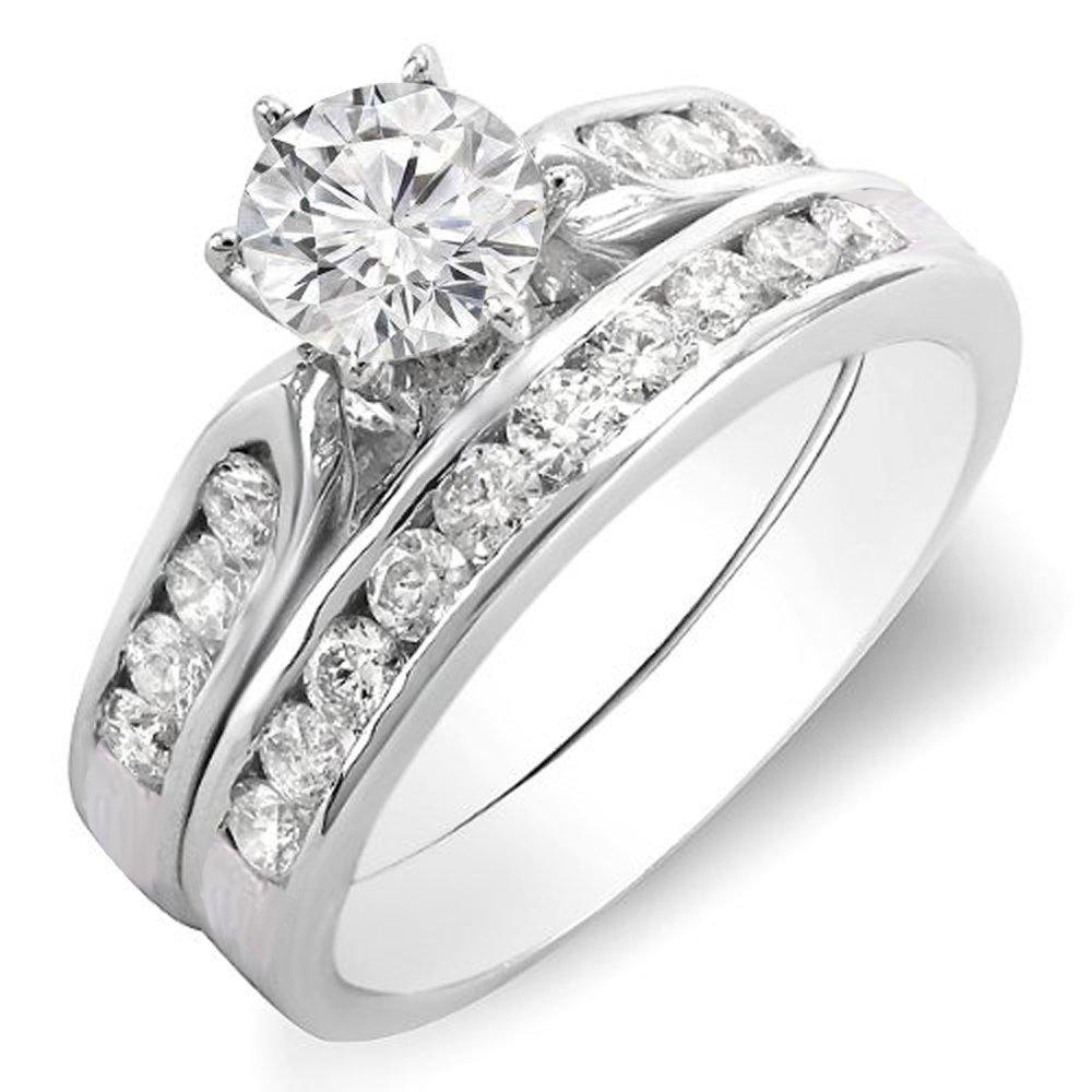 Dazzlingrock Collection 1.00 Carat (ctw) 14K Round Diamond Ladies Bridal Engagement Ring Set 1 CT, White Gold, Size 5