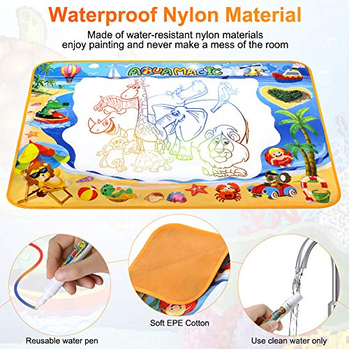61B87CtfqGL - Toyard Doodle Mat, Large Aqua Magic Water Drawing Mat Toy Gifts for Boys Girls Kids Painting Writing Pad Educational Learning Toys for Toddler