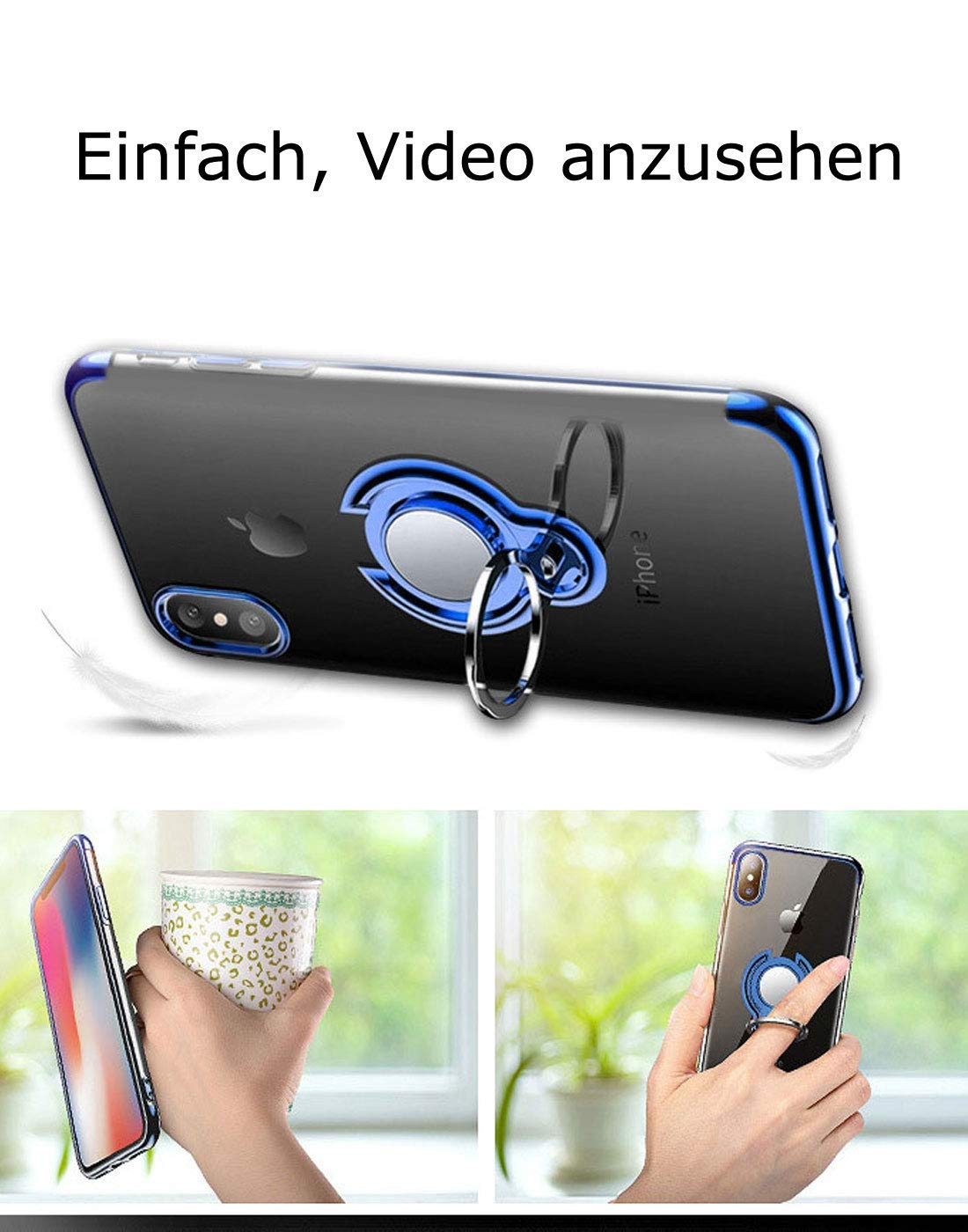 Caler H/ülle Kompatible Samsung Galaxy S9+//S9 Plus Handyh/ülle Soft Silikon H/ülle Ultra D/ünn TPU Bumper Case 360 Grad Ring Stand Magnetische KFZ-Halterung Autohalterung Schutzh/ülle f/ür Transparent