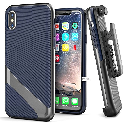 Encased iPhone X/iPhone Xs Belt Case Holster Clip Combo with Screen Protector, Slim Dual Layer Ultra Thin Grip Cover - Compatible with Apple iPhone X & iPhone Xs - Navy Blue