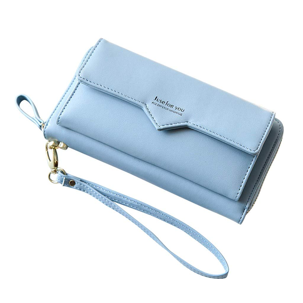 Clearance! Women Simple Zipper Long Purse Wallet Clutch Large Capacity Ladies Purses Card Holder Phone Bags (Blue, 20x3x10cm)