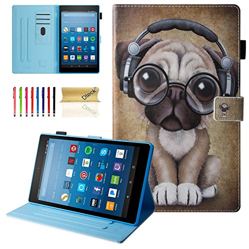Dteck All-New Amazon Fire HD 10 Case (7th Gen, 2017 Release) - Slim Fit Folio Stand Shockproof Cover PU Leather Case with Auto Wake/Sleep Smart Protector for Fire HD 10.1
