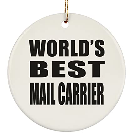 worlds best mail carrier circle ornament xmas christmas tree decor ation best funny gag
