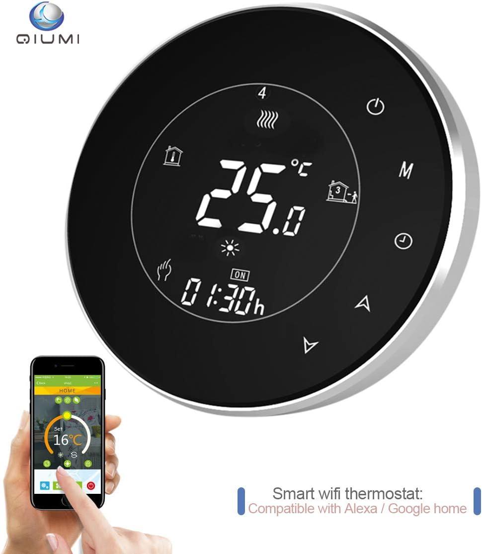 Qiumi Termostato redondo Wifi para calefacción individual de calderas de gas/agua funciona con Amazon Alexa, Google Home IFTTT, Contacto seco, 5A 95~240V AC