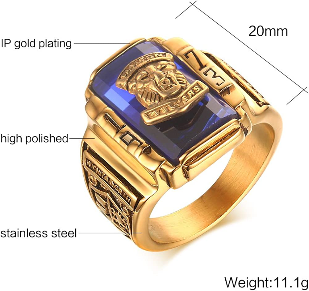 PROSTEEL Men Ring Square Flat Biker Style Polished Ring Send Gift Box Stainless Steel//18K Gold Plated
