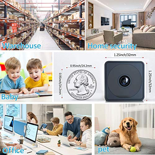 1080P HD WiFi Camera, Live Streaming Camera with Audio, Mini Camera with 32GB SD Card Night Vision Video Recording, Security Surveillance Cameras for Indoor/Office……