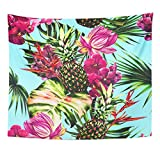 Breezat Tapestry Watercolor Tropical Flowers Palm Leaves Pineapples Exotic Jungle Pink Lotus Orchid Bird of Paradise Home Decor Wall Hanging for Living Room Bedroom Dorm 50x60 Inches