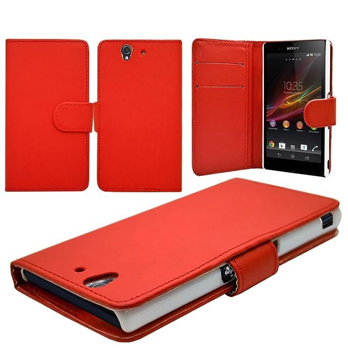 Para Xperia Z C6630 rojo color de smartphone de piel sintética ...