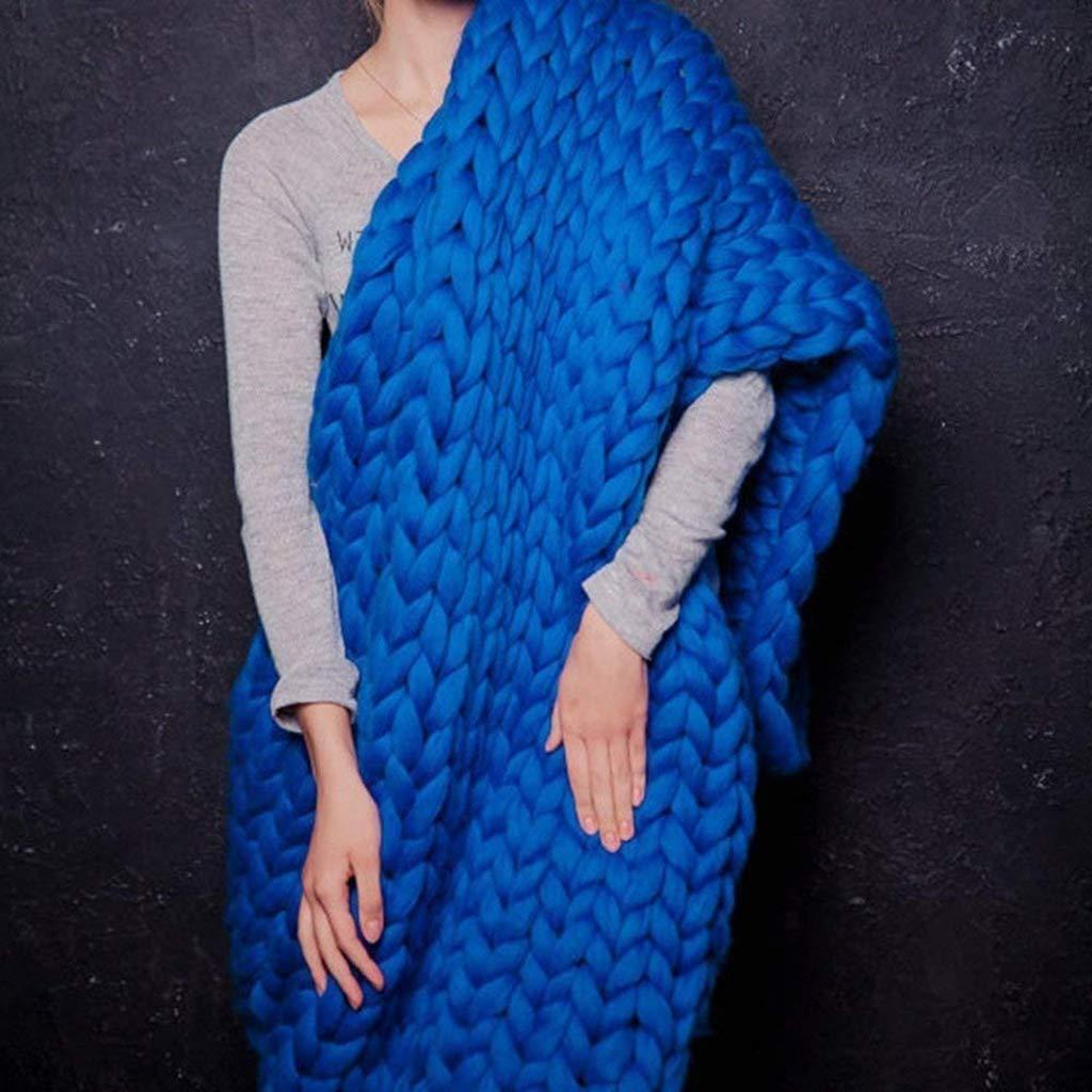 手製のウールの厚い糸の毛布は家の装飾の誕生日のギフトのクリスマスのギフトの考えのための毛布を編む大きい腕を重くする,80