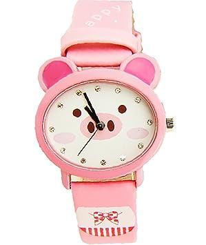 Reloj impermeable de Kawaii exquisito cerdo de dibujos animados de diseño de pulsera de cuarzo para las niñas: Amazon.es: Deportes y aire libre