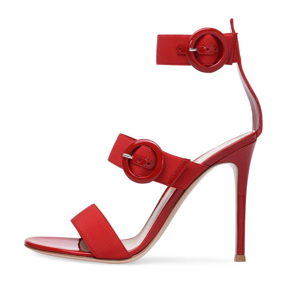 Damenschuhe Frühling Sommer europäische und amerikanische Damen elastische Gürtelschnalle Super High-Heeled Damen Sandalen (Farbe   Rot, Größe   37)