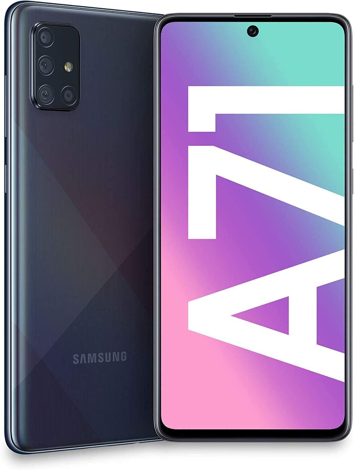 "Samsung Galaxy A71 (128GB, 6GB) 6.7"", 64MP Quad Camera, 25W Fast Charger, Android 10, GSM Unlocked US + Global 4G LTE International Model A715F/DS (128GB + 64GB SD + Case Bundle, Prism Crush Black)"