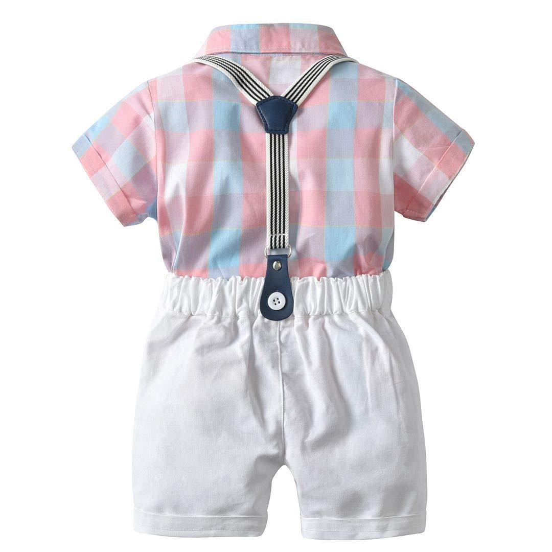 Echinodon Babyanzug Hemdbody mit Fliege Shorts mit Tr/äger Junge Baby Bekleidungsset Gentleman Sommer Anzug Set