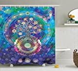 Ambesonne Home Decor Collection, Tree of Life with Floral Style Mandala Spiritual Artwork Meditation Peace Spa Design Decor, Polyester Fabric Bathroom Shower Curtain, 84 Inches Extra Long, Blue Purple