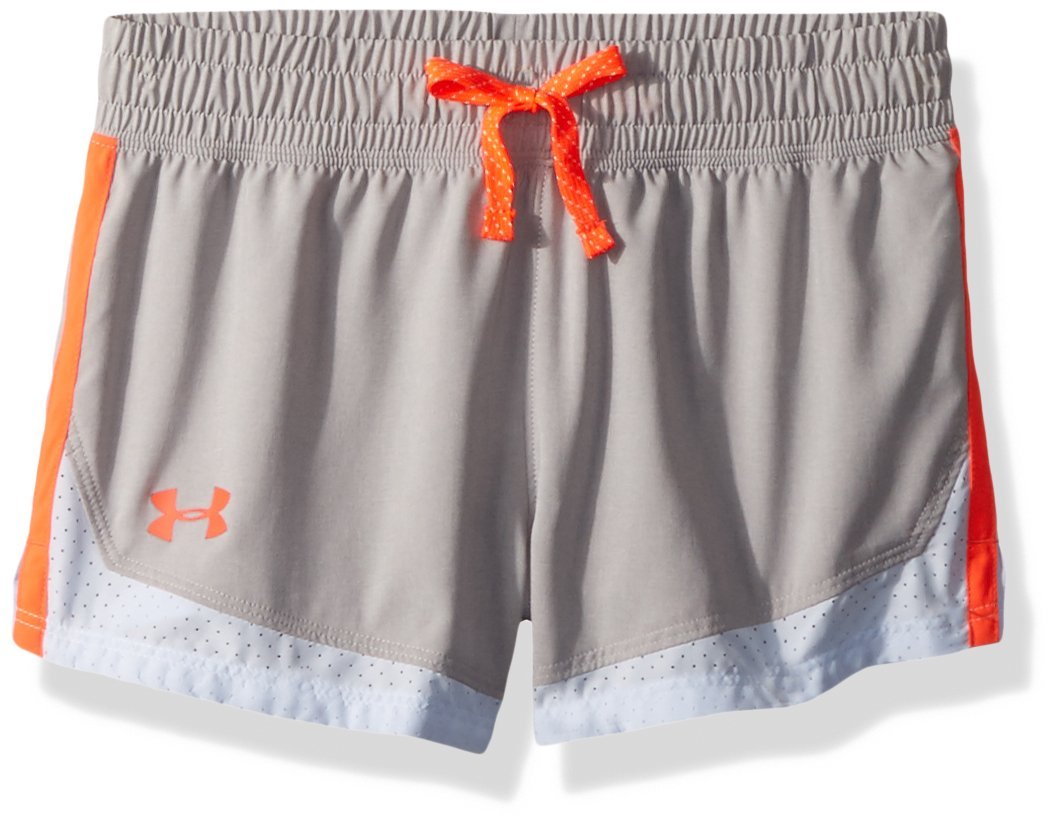 Under Armour Girls' Sprint Shorts, Overcast Gray (941)/Neon Coral, Youth X-Small