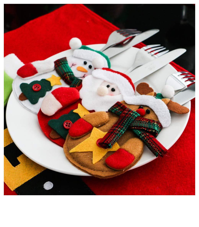 Joopee 3pcs Christmas Cutlery Set Xmas Decor Santa Elk Snowman Pattern Kitchen Tableware Bag