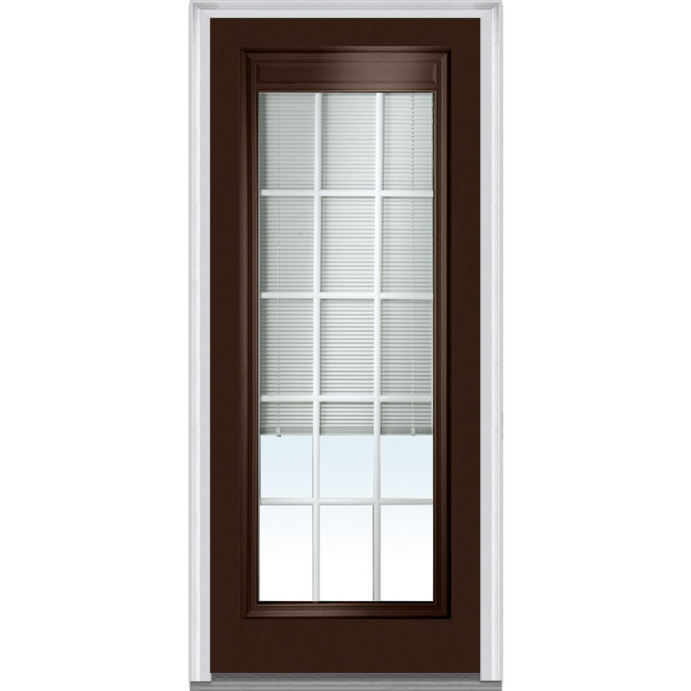 National Door Company Z010540L Steel Polished Mahogany, Left Hand In-swing, Prehung Door, Full Lite, Clear Low-E Glass with RLB and GBG, 36'' x 80''