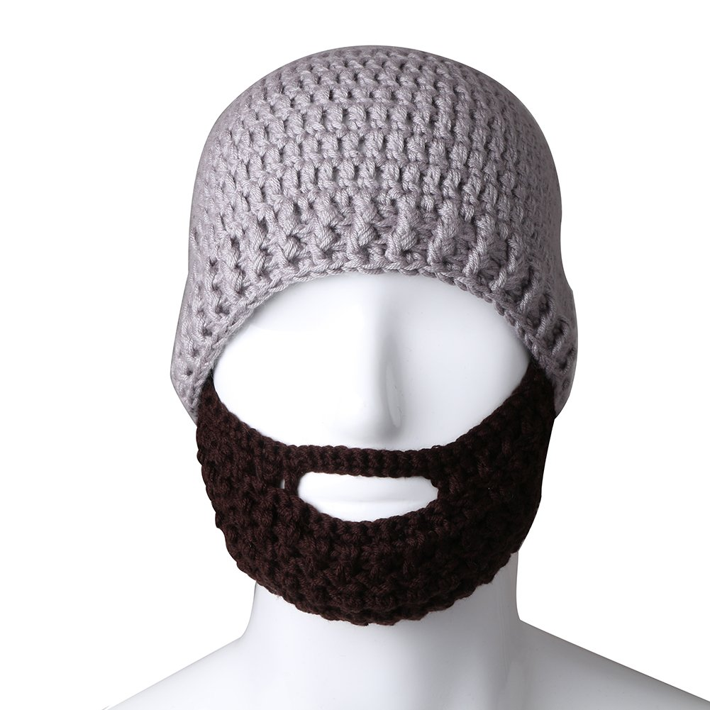 Free Fisher Unisex Knit Beanie Stubble Beard Style2 Grey+Coffee