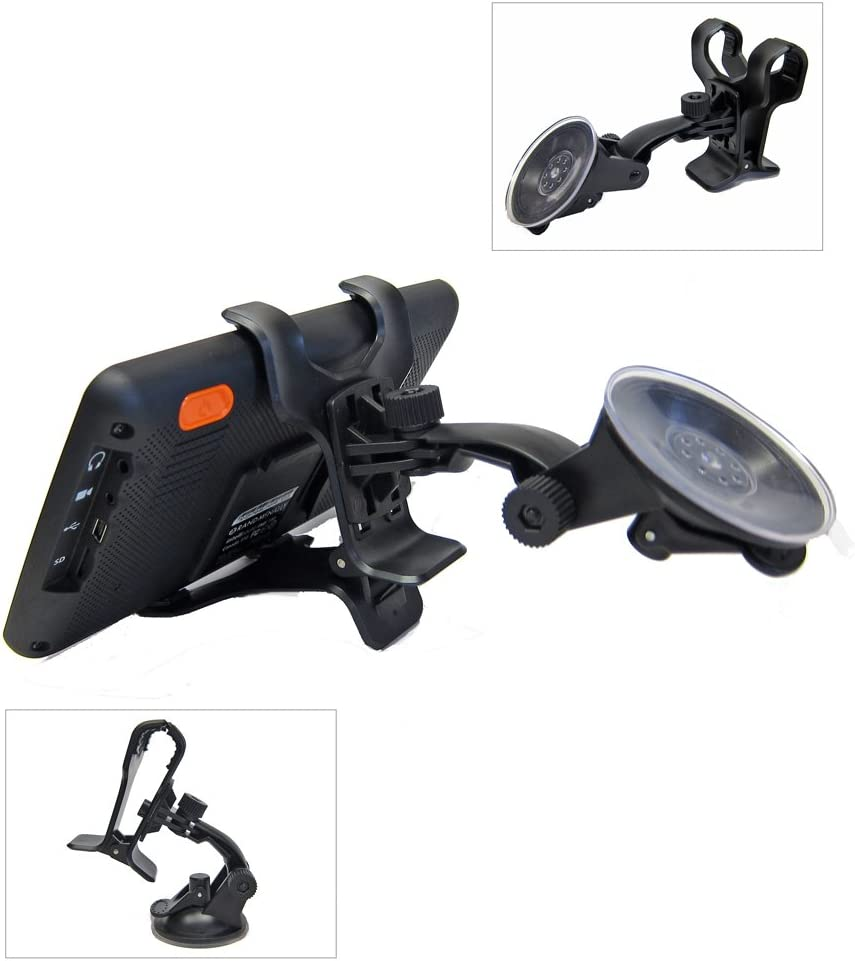 Ramtech Car Vehicle Truck Adjustable Windshield Suction Mount Holder Bracket Stand Suitable for Rand McNally OverDryve 7 8 PRO GPS Note: Fits Tablet GPS and Magnetic Slice Mount WMB7