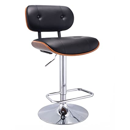 COSTWAY Swivel Walnut Bentwood Adjustable Height Bar Stool PU Leather  Tufted Modern Barstool Pub Chair With