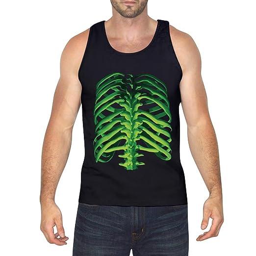 063acdbcba7e2 Amazon.com  Halloween Glow In The Dark Skeleton - Rib Cage   Spine Tank Top  Men s Singlet  Clothing