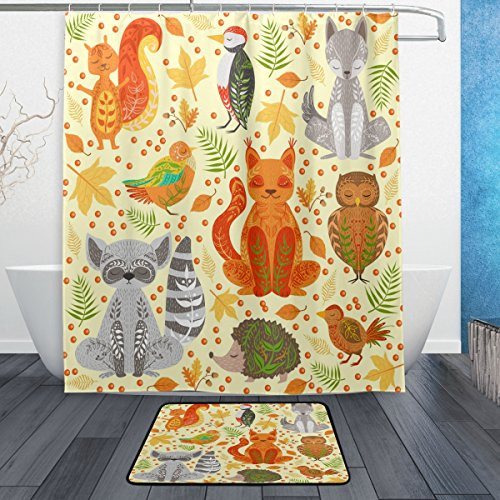 ALAZA Set of 2 Forest Animals 60 X 72 Inches Shower Curtain and Mat Set, Squirrel Fox Bird Owl Hedgehog Waterproof Fabric Bathroom Curtain and Rug Set with (Fox Shower Curtain Hooks)