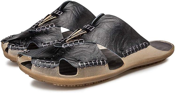 Amazon.com   Men's Slides Sandals Summer Outdoor Walking Leather Breathable Flip  Flops Beach Soft Open Toe Casual Slipper   Sport Sandals & Slides