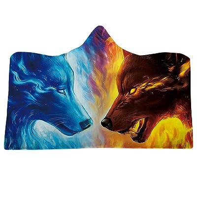 Wenasi Hooded Blanket 3D Galaxy Sky with Moon Print Super Soft Sherpa Fleece Blanket: Home & Kitchen