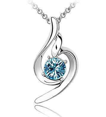 Buy shining diva 18k white gold plated stylish crystal necklace shining diva 18k white gold plated stylish crystal necklace pendant gift for girls women aloadofball Images
