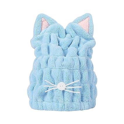 OuYou Toallas de Baño Orejas de Gato Engrosado Cabello Turbante de Secado Rápido Reducir el Tiempo