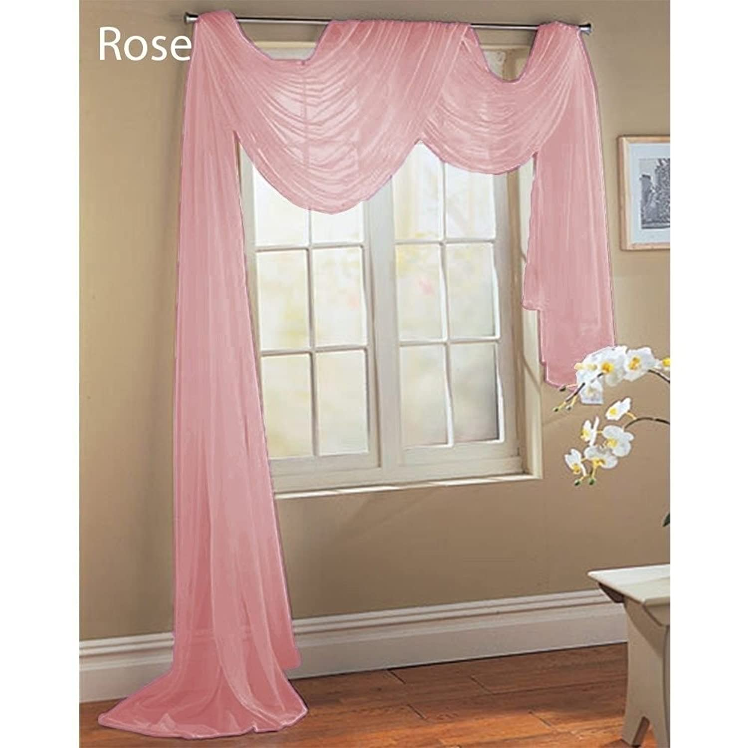 Amazon Rose Baby Pink Scarf Sheer Voile Window Treatment
