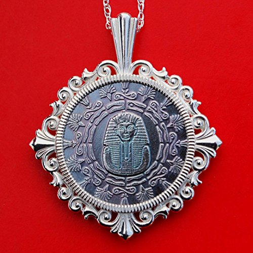 Silver Sterling King New - Monarch Precious Metals 1/4 oz .999 Fine Silver Round Coin 925 Sterling Silver Necklace NEW - Old World Style Egyptian King Tut w/Pyramid