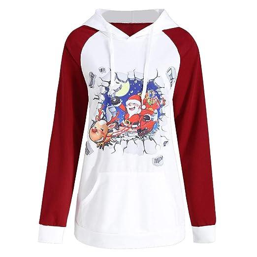 Kulywon long sweatshirts for women Women Santa Claus Print Long Sleeve Hoodie Sweatshirt Tops Blouse Shirt
