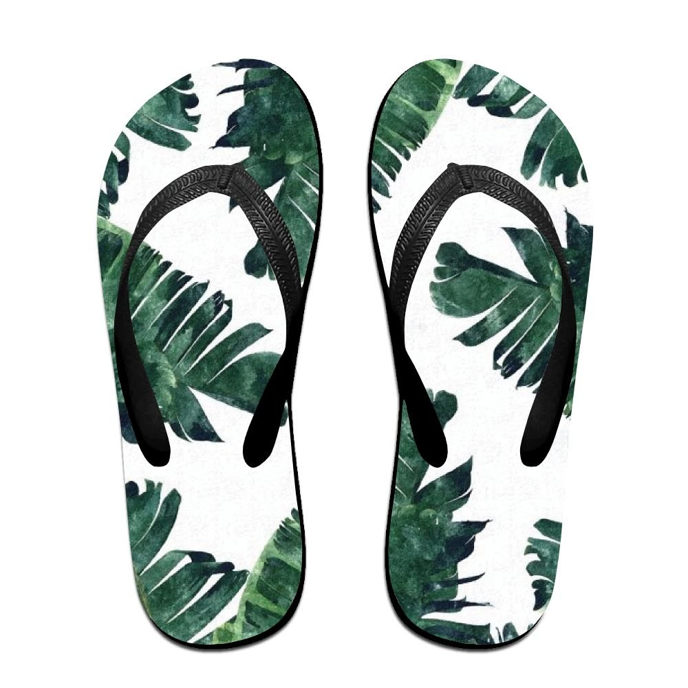 Unisex Banana Leaf Watercolor Summer Beach Herringbone Shoes Sandals Slipper Indoor & Outdoor Flip-flops