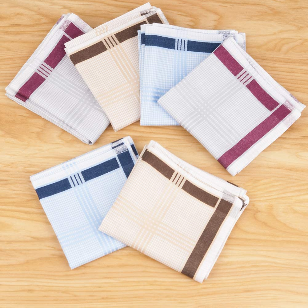 12 PCs Houlife Mens 100/% Cotton Striped Checked Pattern Handkerchief with Assorted Color Vintage Hankie 3 Colors 17 x 17 Inches