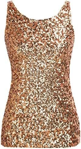 PrettyGuide Women's Shimmer Glam Sequin Embellished Sparkle Tank Top Vest Tops