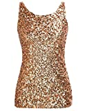 PrettyGuide Women Shimmer Glam Sequin Embellished Sparkle Tank Top Vest Tops ,Gold,Us Size -Large, Asian Size- XL