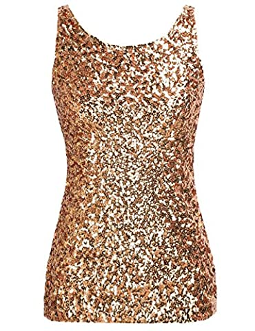 PrettyGuide Women's Shimmer Glam Sequin Embellished Sparkle Tank Top Vest Tops XS Gold - Womens Shimmer