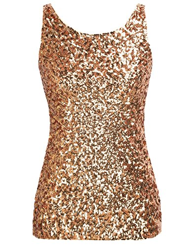 PrettyGuide Women Shimmer Glam Sequin Embellished Sparkle Tank Top Vest Tops ,Gold,Us Size -Large, Asian Size- (Sequin Gold)