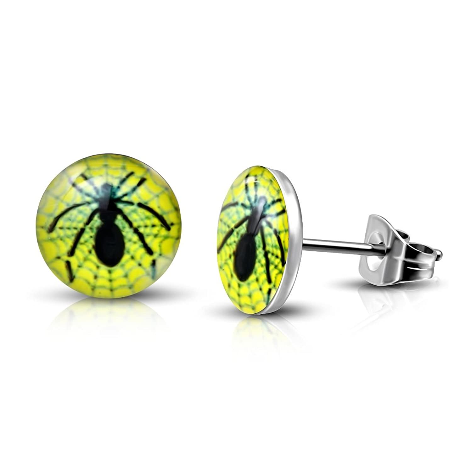 Stainless Steel 3 Color Spider Web Dream Catcher Circle Stud Earrings (pair)