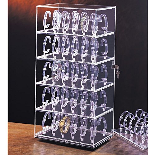 Clear Acrylic Rotating Jewelry Watch Display Case 12'' x 8 1/2'' x 24 1/2'' Tall ~ Holds 60 Watches