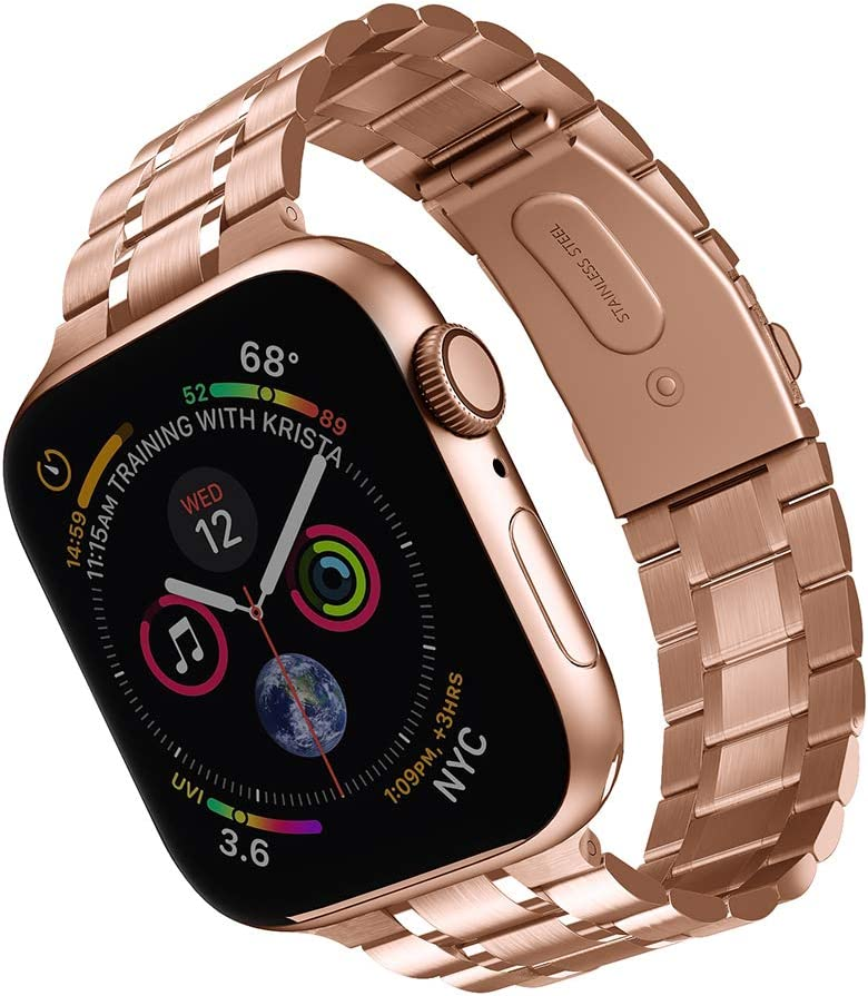 Compatible with Apple Watch Band 38mm 40mm 42mm 44mm, Upgraded Version Solid Stainless Steel metal Wristband Replacement for iWatch Series 5/4/3/2/1 (Rose gold, 38mm/40mm)
