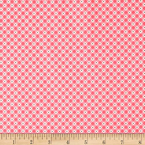 Riley Blake Designs Penny Rose Mon Beau Jardin Check Fabric, Pink, Fabric By The Yard